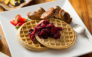 7 Grain Waffles with Mango Blueberry Compote, Image by bistroMD