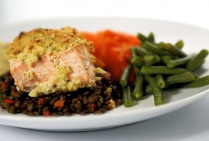 Salmon with a Herb Crust on a Bed of Spicy Lentils, Image by Nutrichef