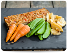 Turkey Nut Loaf & Steamed Vegetables, Image by MY Food